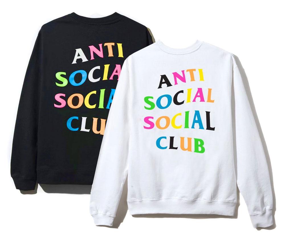 アンチソーシャルソーシャルクラブ(ANTI SOCIAL SOCIAL CLUB)スウェットトレーナー/レインボー ブラック ホワイト ASSC Rainbow Crewneck【あす楽対応_関東】