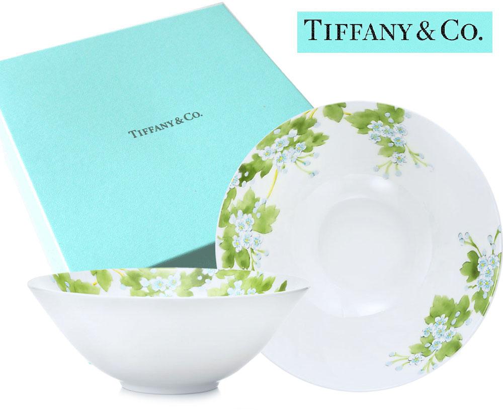TIFFANY & CO(ティファニー)フラワー柄ボウル2点セット/リーブス リーフ/食器 皿/紙袋付き【あす楽対応_関東】