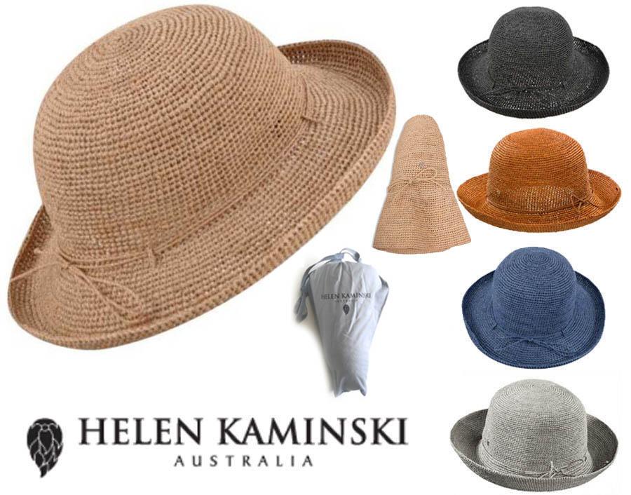 送料無料!持ち運びに便利な専用収納ケース付き!オーストラリア直輸入正規品! 【収納袋付】ヘレンカミンスキー(Helen Kaminski)PROVENCE8 プロバンス8 ラフィアハット 帽子 ストローハット 持ち運びに便利なロゴ入り布バッグ付き UVカットハット 折りたためる帽子