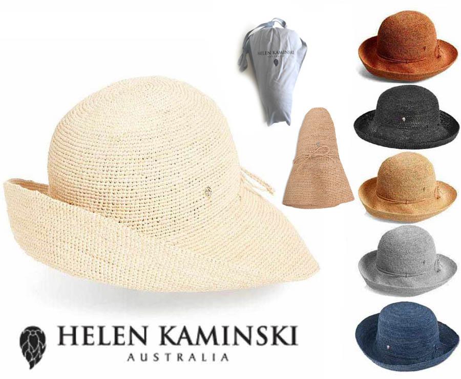 送料無料!持ち運びに便利な専用収納ケース付き!オーストラリア直輸入正規品! 【収納袋付】ヘレンカミンスキー(Helen Kaminski)PROVENCE10 プロバンス10 ラフィアハット 帽子 ストローハット 持ち運びに便利なロゴ入り布バッグ付き UVカットハット 折りたためる帽子