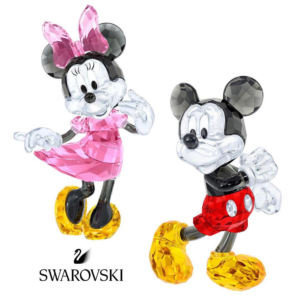 スワロフスキー(SWAROVSKI)ミッキーマウス、ミニーマウスのクリスタルオブジェ/ディズニーコラボ/Mickey Mouse/Minnie Mouse/スワロフスキー社製置物