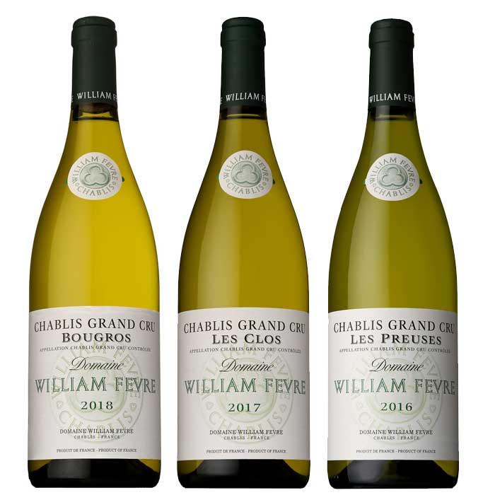 【お取り寄せ】【送料無料】ソムリエお勧め ウィリアムフェーブル シャブリ グランクリュ白3本セット WILLIAM FEVRE CHABLIS GRAND CRU