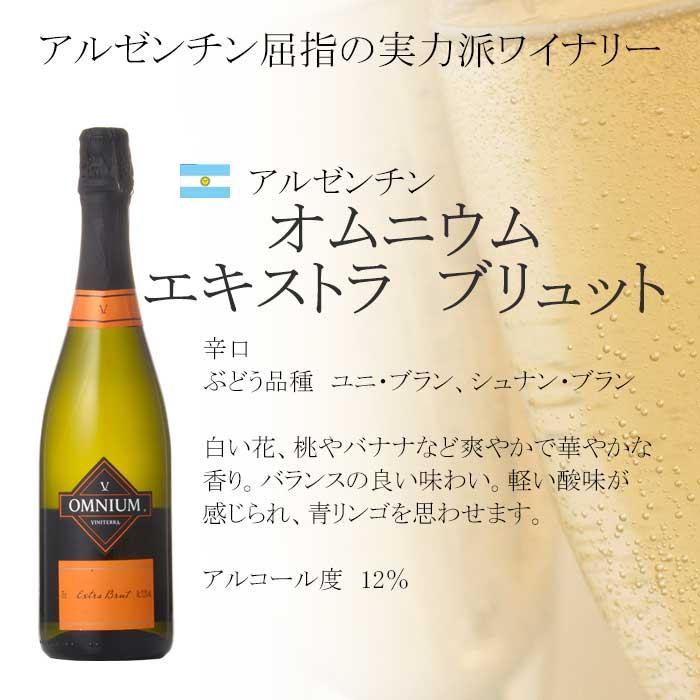 飲みやすいデイリー向けスパークリング 日本メーカー新品 オムニウム エキストラ ブリュット泡 辛口 750ml アルゼンチン スパークリング おすすめ特集