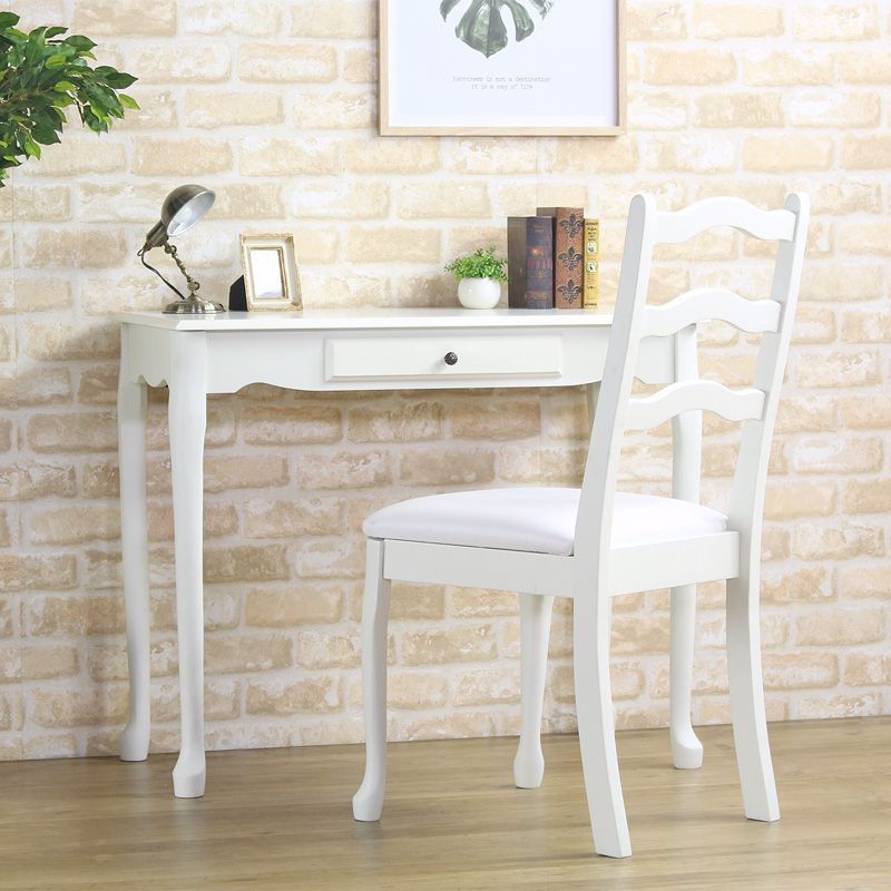 Set Antique Wooden Ivory White White PC Desk Pc Desk Study Desk Work Desk  Chair Chair Chair Desk Chair Tree Fashion Vintage Country Soundless And ...