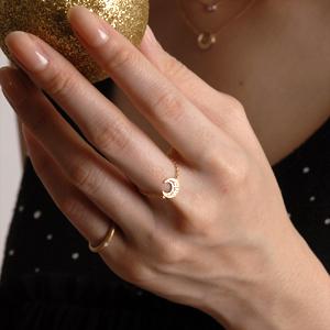 K18ゴールド×ダイヤモンド ルミエール チェーンリング 0 03ct 18k 18金 スター 星 ムーン 月 チャーム スライj54ALq3R
