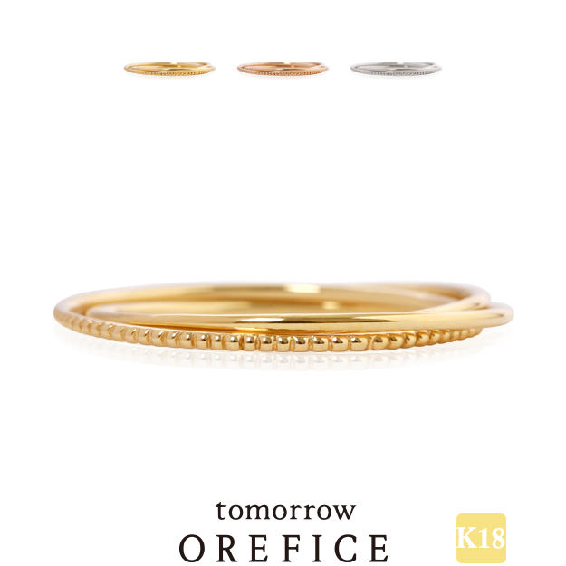 K18ゴールド「トリプレット」リング 指輪★18k 18金 三連 ミル トリニティ オレフィーチェ
