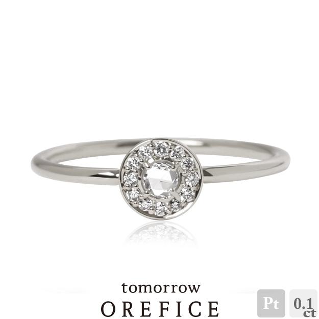 Pt950プラチナ×ローズカットダイヤモンド「ビジュー」リング 指輪★計0.1ct ローズカット ダイア オレフィーチェ