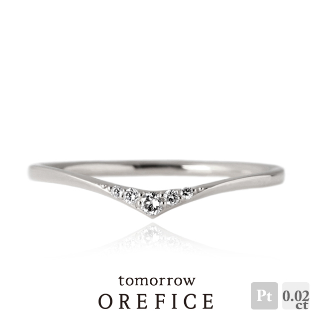 Pt950プラチナ×ダイヤモンド「ハレ」リング 0.02ct 指輪 ピンキー Pt950 プラチナ ダイヤ ダイヤモンド オレフィーチェ