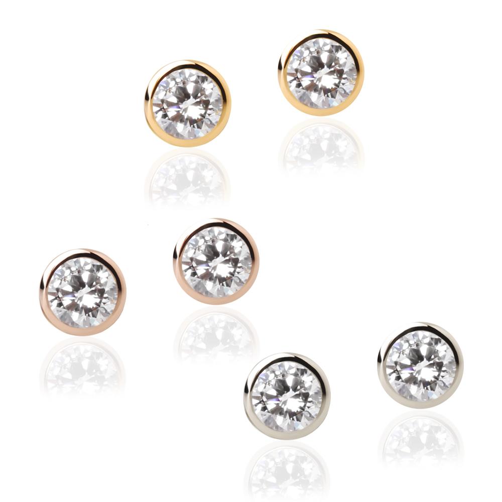 "K18 gold X diamond ""nude"" pierced earrings ★ 0.2ct stud bolt 18k 18-karat gold フクリン one stone オレフィーチェ in total"