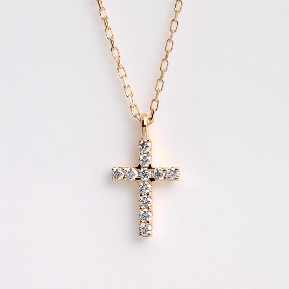 Jewelry atelier orefice rakuten global market k18 gold x diamond k18 gold x diamond cross necklace pendant 01ct 18k 18 karat mozeypictures Choice Image