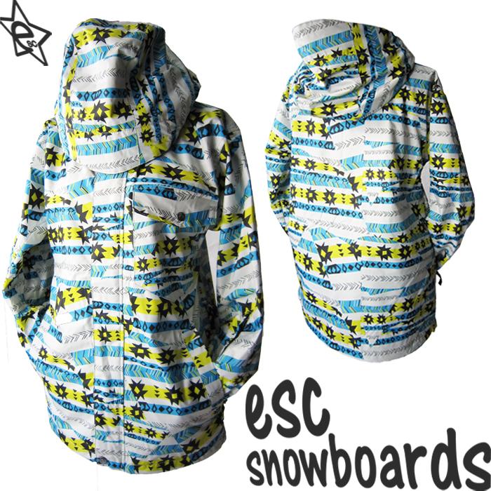 送料無料【 スノーボード ウェア/ ジャケット 】 12-13モデル esc(イーエスシー) スキー スノボ ウェア ▼ジャケット メンズ/レディース/ユニセックス(男女兼用) ESW2201 Nordic BLUE 柄