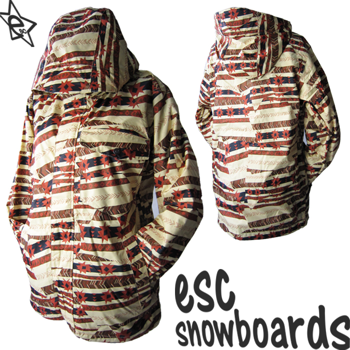 送料無料【 スノーボード ウェア/ ジャケット 】 12-13モデル esc(イーエスシー) スキー スノボ ウェア ▼ジャケット メンズ/レディース/ユニセックス(男女兼用) ESW2201 Nordic BROWN 柄