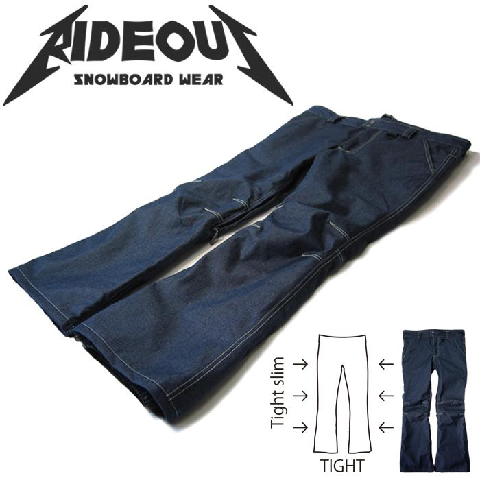 ◆。送料無料。◆rideout(ライドアウト) 12-13モデル brave pants / ブレイブパンツ / RSW9278 デニムパンツ◆スキー スノボ用 ユニセックス(男女兼用) パンツ
