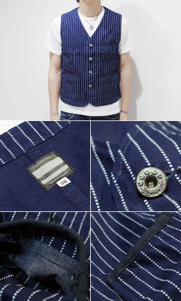 "MOMOTARO JEANS momotaro jeans wobashstripework best 10P28Sep16 ""Indigo stripe VEST, 04-011 (Vest)"