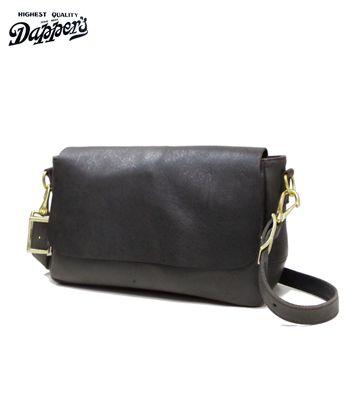 Dapper's ダッパーズ KUDU NAKED|クードゥーレザー|ショルダーバッグ『Leather Mini Shoulder Bag』【アメカジ・バッグ】1371(Bag)