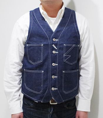 Dapper's ダッパーズ コバートデニム|レイルロード|ワークベスト『Standard Railroader Work Vest』【アメカジ・ワーク】1379(Vest)