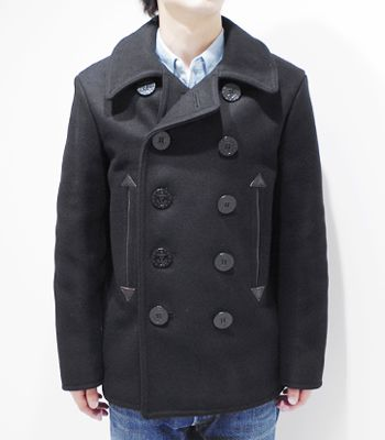 BUZZ RICKSON'S WILLIAM GIBSON COLLECTION ブラックピーコート『36oz.WOOL MELTON BLACK PEA COAT』【アメカジ・ミリタリー】BR12394(Wool Melton Coat)(std-coat-buzz)
