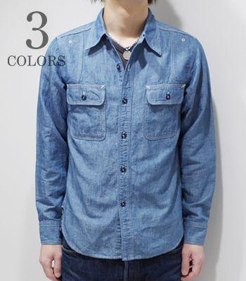 PHERROW'S フェローズ 菊穴ステッチ|40年代モデル|シャンブレーワークシャツ『40's MODEL CHAMBRAY WORK SHIRT』【アメカジ・ワーク】770WS(Long sleeve shirt)(std-lsh-pherrows)