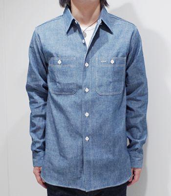"WAREHOUSE服装房屋Sears型 shamburewakushatsu""TRIPLE STITCH WORK SHIRT""3076(Long sleeve shirt)"