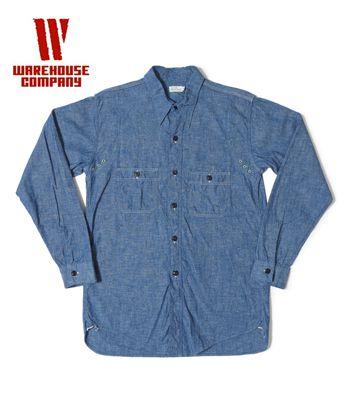WAREHOUSE ウエアハウス ウエスタンヨーク|シャンブレーワークシャツ『WESTERN YORK CHAMBRAY SHIRT』【アメカジ・ワーク】3019(Long sleeve shirt)