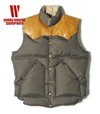 WAREHOUSE×Rocky Mountain レザーヨーク|ナイロンダウンベスト『NYLON DOWN VEST』【アメカジ・ワーク】2115(DOWN Vest & Jacket)