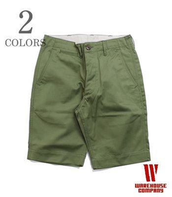 WAREHOUSE ウエアハウス 41カーキ|チノ|ショートパンツ『CHINO SHORTS』【アメカジ・ミリタリー】1204(Shorts)