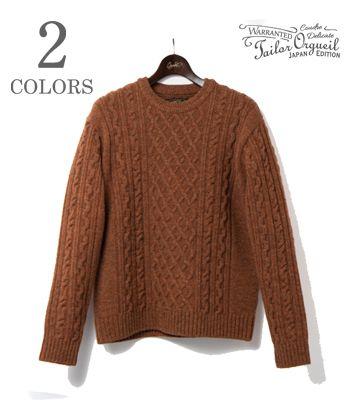 ORGUEIL オルゲイユ シェトランドウール|ケーブル編み|クルーネックセーター『Cable Knit Sweater』【アメカジ・ワーク】OR-4153(Cardigan & Sweater)