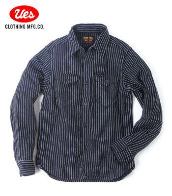 UES ウエス インディゴ染色 ストライプワークシャツ『インディゴストライプネルシャツ』【アメカジ・ワーク】501656(Long sleeve shirt)