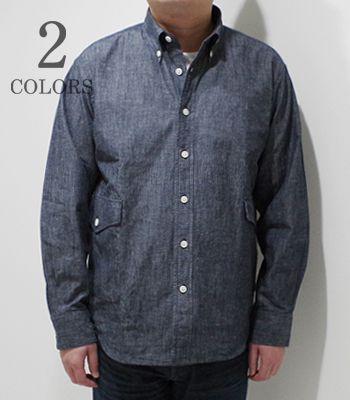 Soundman サウンドマン 長袖|ダンガリー|ボタンダウン|シャツジャケット『Fairfield Button Down Shirt』【アメカジ・ワーク】305M-010P(Long Sleeve Shirt)