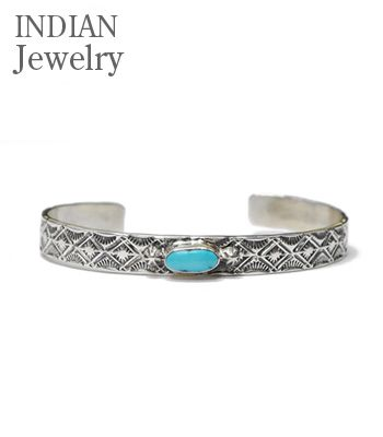 INDIAN JEWELRY ナバホ族|Henry Mariano|スタンプワーク|ターコイズ|バングル『NAVAJO STAMPED SILVER BANGLE Apache Blue TQ.』【アメカジ・ネイティブ】IJ-209(Bangle)