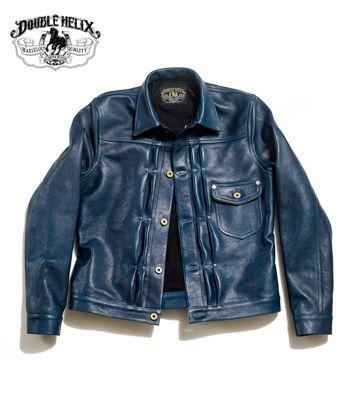 DOUBLE HELIX ダブルヘリックス 1stタイプ|インディゴ染色|ホースハイド|レザージャケット『Western Cowboy』【アメカジ・ワーク】WM01-INDIGO(Leather jacket)