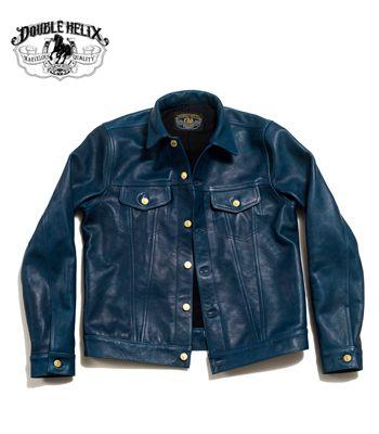 DOUBLE HELIX ダブルヘリックス ホースハイド|インディゴ染色|レザージャケット『Western Pioneer』【アメカジ・ワーク】WM03-INDIGO(Leather jacket)