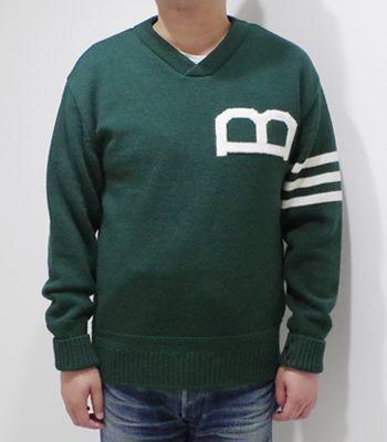 Brooklyn Overall ブルックリンオーバーオール ウール|Vネック|セーター『Knit Sweater』【アメカジ・ワーク】94086002