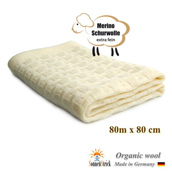 オーガニックウール ニット ブランケット ナチュラル 80x80cm(出産祝い ドイツ製 ベビー寝具 お昼寝ケット)
