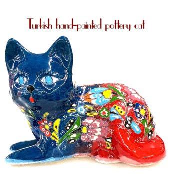 トルコ陶器 トルコ トルコ土産 トルコみやげ トルコお土産 トルコおみやげ トルコ雑貨 キュタフヤ陶器 猫カバルトゥマデザイン大・待ちぼうけポーズ08