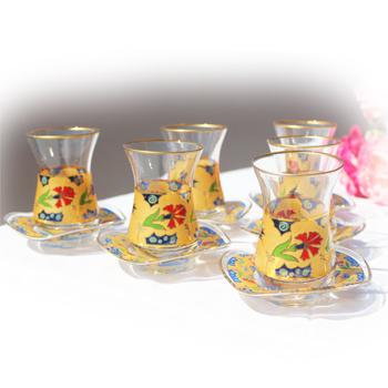 スペシャルゴールドチャイグラス6客セット02|トルコ|トルコ土産|トルコみやげ|トルコお土産|トルコおみやげ|トルコ雑貨|チャイ|チャイグラス|リキュールグラス|ワイングラス|クリスマスプレゼント|caybardagi|69