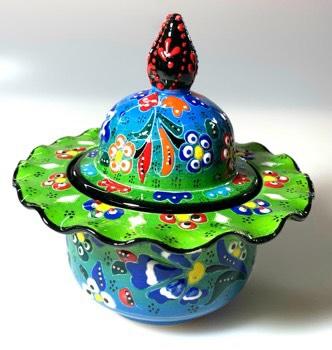 トルコ陶器 トルコ トルコ土産 トルコみやげ トルコお土産 トルコおみやげ トルコ雑貨 キュタフヤ陶器 アラジン Aladdin 蓋付シュガーポット02