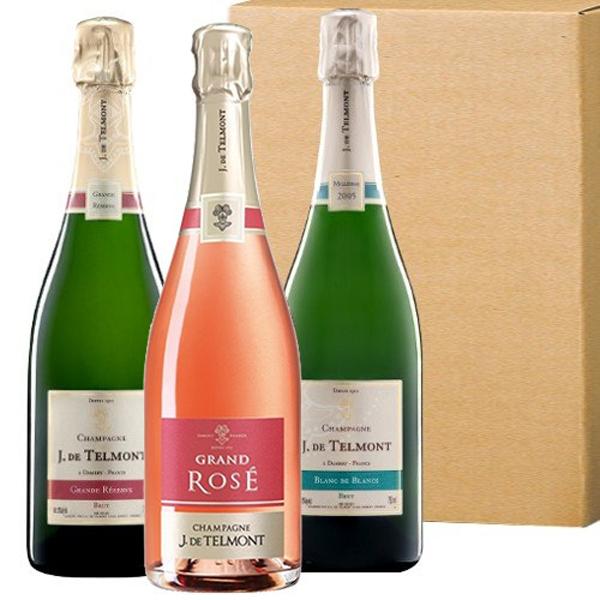ワインセット フランス シャンパン 3本 ロゼ 辛口 飲み比べ シャンパーニュ グラン・レゼルブ・ブリュット グラン・ロゼ・ブリュット ブラン・ド・ブラン ジャック・ド・テルモン 750ml