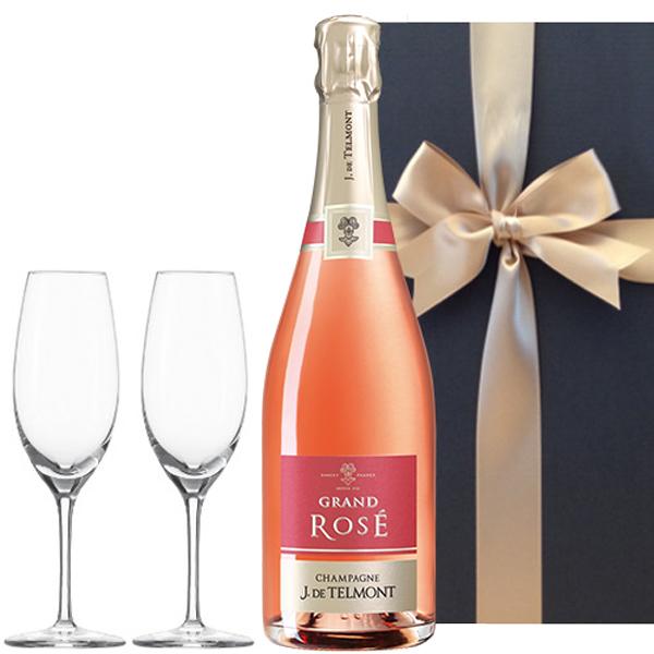 シャンパンとグラスのギフト セット フランス シャンパーニュ グラン・ロゼ・ブリュット 750ml シャンパングラス ペア ドイツ製 包装つき 箱入り