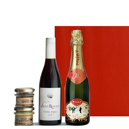 送料無料 【ワインとグルメのギフト】赤ワイン シャンパン フランス 375ml 2本 ハーフボトル ブルゴーニュ 赤 辛口 マキシム・ド・パリ 泡 オーガニック テリーヌ 45g 2個 イノシシ オリーブとハーブ ビオ 内祝 あす楽 プレゼント 母の日 父の日