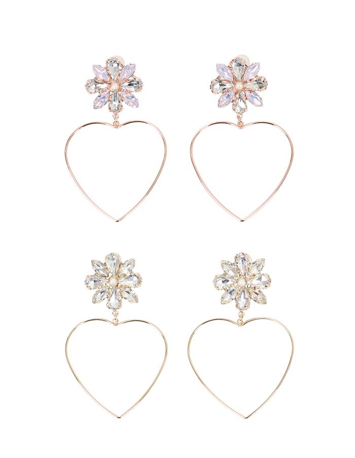 50584c42d9cdac All crystal flower & heart hoop earrings le reve vaniller two colors ...