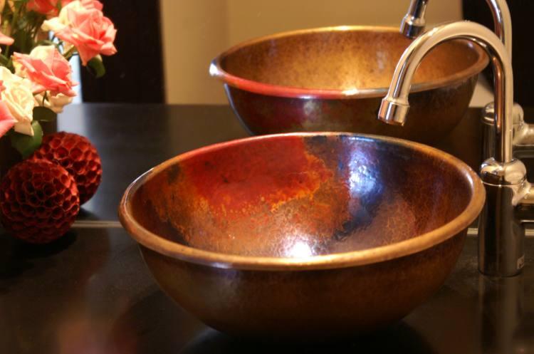 受注制作品 銅の手洗器 丸形 茜色