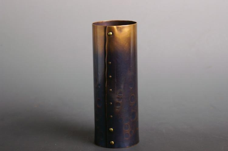 手作り銅器 花器 紫筒形鋲止