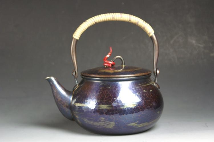 日本正規代理店品 お買得 送料無料 手づくり銅器 湯沸かし 茶器 風紋 やかん
