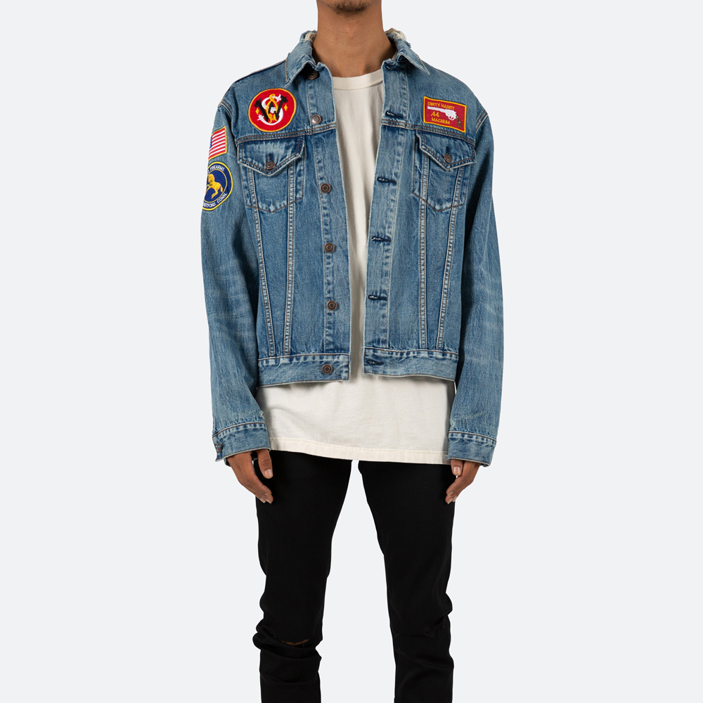 incredible prices select for original multiple colors MNML minimal PATCHED TRUCKER - BLUE denim jacket blue men gap Dis street  outer jacket relaxation fitting button fried food long sleeves