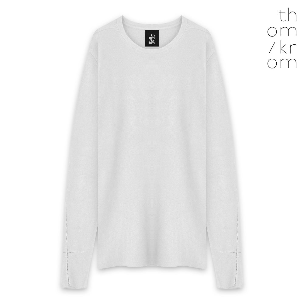 THOM/KROM   FW19 COLLECTION. THOM/KROM トムクロム DOUBLE FABRIC LONG SLEEVE T-SHIRT - WHITE ロングスリーブ Tシャツ ホワイト