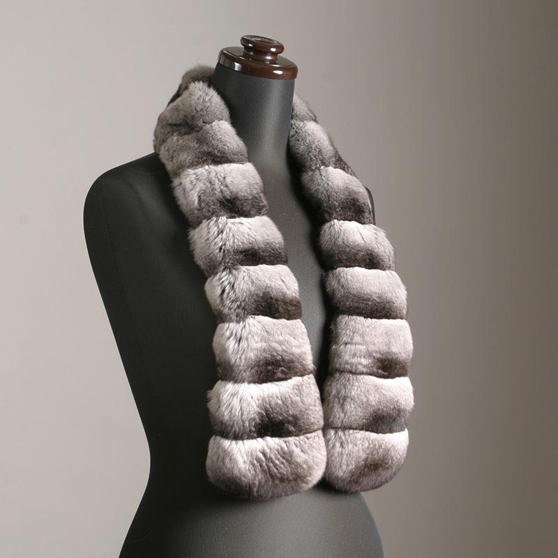 処分SALE返品不可チンチラマフラー(ナチュラルカラー)毛皮、ファーのALFURNO