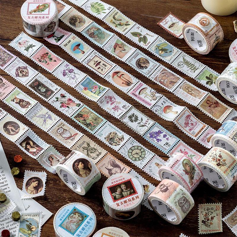 即日発送/大人気の切手風マスキングテープ おしゃれ きれい 切手のようにカットできます!本物の切手のような雰囲気 切手モチーフ 即日出荷 海外 切手風マスキングテープ スタンプ シール 切手シール ビンテージ アンティーク コラージュ 素材 ヴィンテージ ジャンクジャーナル 手帳デコ ラベル 人物 植物 動物 コーヒー 珈琲