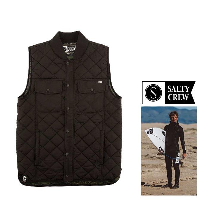 SALTY CREW【ソルティークルー】『 Tidal Vest 』キルティング・胸ポケットベスト・ジャンパー color【 BLACK 】ブラック