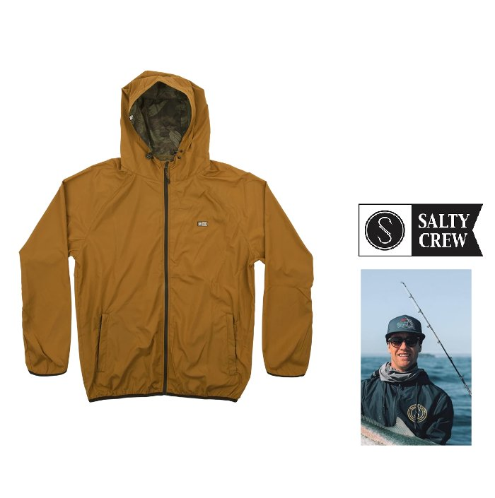 SALTY CREW【ソルティークルー】『 Seawall Packable Jacket 』Hooded ZIP jacket プリントフーデット・撥水ポリエステル・ジャンパーLight weight wind breaker color【 TOBBACO 】タバコ